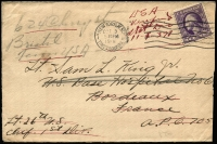 Lot 1498:1918 (Oct 3) cover to Lieut Sam King, US Base Hospital No 6, Bordeaux, with 3c Washington tied by New York machine cancel, undelivered & returned to USA, backstamped with seldom-seen undated 'US ARMY POST OFFICE/MPES 705' handstamp.