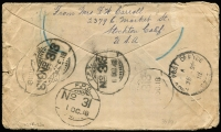 Lot 1497 [2 of 2]:1918 (Aug 22) cover addressed to Sgt Maddocks MIAS Co (attached to 376 Company) Ismailia with 1c Washington x5 tied by Stockton datestamp, undelivered with various mss markings and handstamps including 'PRESENT LOCATION UNCERTAIN', 'UNABLE TO TRACE/BASE A.P.O.T.' (in violet) & 'UNDELIVERED FOR REASON STATED/RETURN TO SENDER', backstamped 'APO SZ22', Indian FPO 313 (Ismailia) & Indian FPO '31' (Kantara), some edge faults as to be expected.
