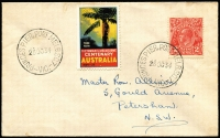 Lot 1264:Prince's Pier, Port Melbourne: 'PRINCES PIER, PORT MELB S.C.7/26OC34/VIC' (A1) two superb strikes on cover to NSW, one tying KGV 2d red, Victoria Centenary label between the datestamps.  PO 18/10/1934; closed 16/11/1934.