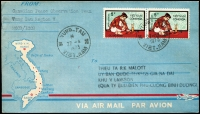Lot 2378:1973 (Apr 27) pictorial envelope sent internally from the Canadian Peace Observation Team, Vung Tau Region V, MCCD/ICCS with Vietnam 5p scholar pair tied by Vung-Tau/Viet Nam datestamp, fine condition.