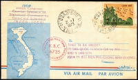 Lot 2390:1973 (Jul 21) pictorial airmail envelope to Binh Duong with soldier serving with Military Component Canadian Delegation for International Commission for Control & Supervision (MCCD-ICCS) with Quan-Buu military frank stamp (very scarce on cover) tied by Quan-Buu datestamp, circular 'K.B.C./6735' circular handstamp in red, fine condition.
