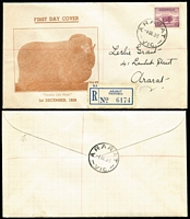Lot 697 [2 of 3]:Grant (Leslie) 1938 5d Ram P13½x14 tied to registered covers x3 with consecutive registration numbers by Ararat (Vic) '1DE38' FDI datestamps, 'Country Life' cachet, addressed to Grant in his own handwriting, minor toning around registration labels. Rare trio. (3)
