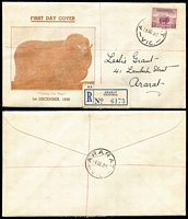 Lot 697 [1 of 3]:Grant (Leslie) 1938 5d Ram P13½x14 tied to registered covers x3 with consecutive registration numbers by Ararat (Vic) '1DE38' FDI datestamps, 'Country Life' cachet, addressed to Grant in his own handwriting, minor toning around registration labels. Rare trio. (3)