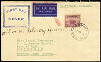 Lot 869:Smith (Frank P) 1938 5d Ram P13½x14 tied to airmail jusqu'a cover to Trinidad by Norwood (SA) '1DE38' FDI datestamp, Frank Smith rubber stamp cachet in blue. Rare.