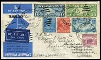 Lot 939:1939 Australia-England (Unofficial) AAMC #876 return flight cover to England with 5d Ram tied by 'AIR MAIL/24AU39/SYDNEY NSW' on attractively franked cover originally sent from USA (Aug 9) to Australia. Only five of these return flight covers are believed to have been serviced.