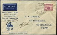Lot 580 [1 of 2]:1939 Sydney-Coonamble AAMC #887a Butler Air Transport Special Xmas Flight printed cover with 5d Ram tied by GPO Sydney Air '23DE39' datestamp, Coonamble backstamp, signed by co-pilot CB Lusk, fine condition.