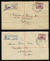 Lot 669 [3 of 4]:1939-41 Selection all with 5d Ram Solo frankings including 1940 airmail to serviceman in the 2nd 7th Battalion AIF ABROAD with 'NOT WITH' x2 & 'NO TRACE' handstamps, 1940 Liverpool (NSW) registered with circular 'MILT CAMP/NSW' handstamp, 1940 MILPO Wayville registered to Sydney, 1940 OHMS printed covers to Shortland Camp x2, 1941 MILPO Woodside to Adelaide, etc; also 1939 (Dec 1) Archerfield Aerodrome (Qld) Opening Day registered cover with provisional registration label, condition variable. (9)