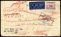 Lot 745 [1 of 4]:Selection all with 5d Ram Solo frankings including 1940 airmail to serviceman in the 2nd 7th Battalion AIF ABROAD with 'NOT WITH' x2 & 'NO TRACE' handstamps, 1940 Liverpool (NSW) registered with circular 'MILT CAMP/NSW' handstamp, 1940 MILPO Wayville registered to Sydney, 1940 OHMS printed covers to Shortland Camp x2, 1941 MILPO Woodside to Adelaide, etc; also 1939 (Dec 1) Archerfield Aerodrome (Qld) Opening Day registered cover with provisional registration label, condition variable. (9)