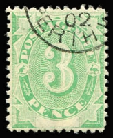 Lot 315:1902 Converted NSW Plates 3d P11½-12 Watermark upright with White flaw in front of 'D' of 'Due', very fine used, Cat $100.