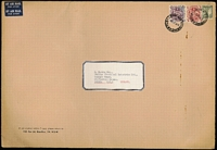 Lot 725:1956 (Oct 22) oversized cover (370x255mm) with 5/- & 10/- Arms plus 1/- Small Lyrebird tied by Newcastle (NSW) datestamps paying 2/- per ½oz airmail rate x8 for items weighing up to 4oz. Fine condition.