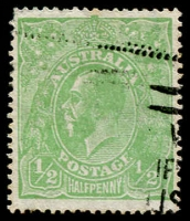 Lot 272:½d Green variety Thin fraction at right [5R43] BW #65(5)m, some nibbed perfs, machine cancel clear of the flaw, Cat $250.