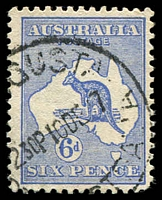 Lot 539:6d Blue Die II Watermark inverted BW #19a, rounded corner, good colour, 1917 Port Augusta (SA) datestamp, Cat $275.