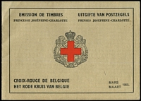 Lot 10 [3 of 3]:Belgium 1953-63 Red Cross Booklets comprising 1953 SG #SB34 x2, and 1963 #SB35 x2. Very fine condition. (4)