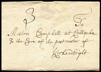 "Lot 1414:1749 (Dec 30) entire from Edinburgh to Kirkenbright, rated ""3"", in fine condition."