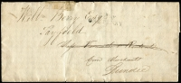 Lot 1550:1839 (May 25) entire from London to Dundee with light strike of 'To Pay/ONE PENNY' handstamp in black, boxed 'DUNDEE/MY31E/1839' backstamp, some small edge faults.