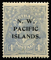 Lot 409:1918-23 KGV New Colours 4d ultramarine SG #124, variety Thickened lower left frame [2R13] BW #112(2)s, mint with uniformly toned gum, Cat $150 as an unoverprinted stamp.