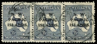 Lot 11109:1918-23 Kangaroos 3rd Wmk 2½d blue SG #107 horizontal strip of 3, Madang datestamps, Cat £48+. Scarce multiple.