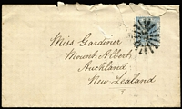 Lot 967 [1 of 2]:17: (B2) slightly smudged but complete strike of Rays type 3R16 tying 2d blue to 1882 cover to NZ, Dubbo, Sydney & Auckland backstamps, [Rated 4R], cover with faults.  Allocated to Dubbo-PO 1/1/1848.