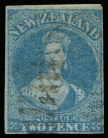 Lot 2188:1855-57 Blue Paper No Watermark 2d blue SG #5, shallow hinge thin at top, complete margins, lightly cancelled, Cat £300.