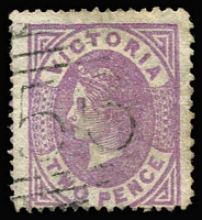 Lot 1261:1873-87 Bell Wmk 1st V/Crown Perf 13 2d mauve Perf 13x12x13x13 SG #178d, mild edge toning, used, Cat £375. Rare.