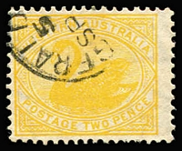 Lot 1279:1902-12 Wmk V/Crown Single Line Perf 12.4 2d dull yellow Watermark upright (inverted) BW #W17B variant, Geraldton datestamp, Cat $250.
