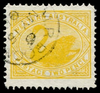 Lot 1003:1902-12 Wmk V/Crown Single Line Perf 12.4 2d orange-yellow Watermark sideways BW #W17C, tidy datestamp cancel, Cat $250.