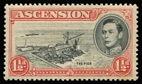 Lot 1453:1938-53 KGVI Pictorials 1½d black & vermilion P13½ Davit flaw [R5/1] SG #40a (MP #CW4a), characteristic streaky toned gum of 1938 printings, mint. Cat £375.