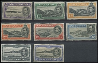 Lot 1378 [2 of 3]:1938-53 KGVI Pictorials ½d to 10/- P13½ set SG #38-47 including 1d Green Mountain & 3d black & ultramarine SG #42, fine mint, Cat £450+. (13)