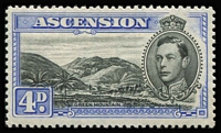 Lot 1378 [1 of 3]:1938-53 KGVI Pictorials ½d to 10/- P13½ set SG #38-47 including 1d Green Mountain & 3d black & ultramarine SG #42, fine mint, Cat £450+. (13)