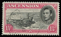 Lot 1189:1938-53 KGVI Pictorials 1½d black & rose-carmine P14 variety Davit flaw [R5/1] SG #40da, fine used and scarce thus, Cat £170.