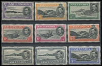 Lot 1379 [3 of 3]:1938-53 KGVI Pictorials ½d to 10/- P13 set including Murray Payne listed 3d & 10/- shades (MP #19a & 25a), fine mint, Cat £180+. (15)