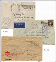 Lot 356 [3 of 3]:Naval Covers With Paquebot Handstamps annotated group including Paquebot cancels applied at Cape Town & Simonstown in South Africa, plus others cancelled at Darwin, Fremantle & Sydney; condition is mixed. (10 covers plus a few fronts). (18)