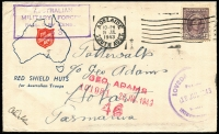 Lot 924:South Australia 1943 (Jul 19) Tatts cover with large part strike of 'LOVEDA[Y] [GROUP]/19JUL1943/INTERNMEN[T] [CAMP]