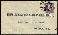 Lot 821 [3 of 5]:1922-24 1d Violet KGV 'Star' With 'POSTAGE' BW #ES41 x5, for Melbourne based users comprising International Harvester, British Australian Wool Realisation x2, plus window envelopes for Brookes, Robinson & Co and James Moore & Sons, few small faults/blemishes, Cat $500. (5)