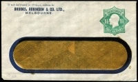 Lot 684:1923-24 1½d Green KGV Star With 'POSTAGE' BW #ES55 window envelope for Brooks, Robinson & Co, minor stains around window, flap sealed, Cat $300.