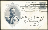 Lot 764 [1 of 2]:1911 1d KGV Fullface Coronation KGV in Oval Oak Leaf Frame Type 4 in purple-black on White Card/White on Reverse BW #P9(2)A, printed notice on reverse for St Peter's Collegians' Association, mild crease, 1912 Adelaide local usage. Unusual.