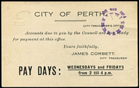 Lot 675 [2 of 2]:1923 'ONE/PENNY' On 1½d KGV Sideface Obsolete Stock 1d on 1½d Emerald-Green BW #P59, printed notice on reverse for City of Perth with timeclock handstamp in violet, used within Perth, fine condition, Cat $250.
