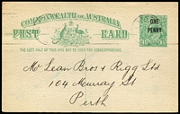 Lot 675 [1 of 2]:1923 'ONE/PENNY' On 1½d KGV Sideface Obsolete Stock 1d on 1½d Emerald-Green BW #P59, printed notice on reverse for City of Perth with timeclock handstamp in violet, used within Perth, fine condition, Cat $250.