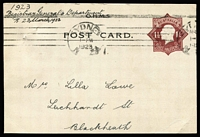 Lot 407:1921-23 1½d Red-Brown Star With 'POSTAGE' BW #PS18 for Registrar-General (NSW) addressed to Blackheath with Sydney 'MR22/1923' machine cancel, couple of pinholes in upper-left corner, Cat $300.