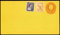 Lot 776:1956 3½d Orange QEII BW #PS33 on bright orange-yellow stock for Goldsborough, Mort & Co (Stock Agents, SA) uprated with 1d QEII & ½d Roo for the rate increase to 5d which took effect from 1st Oct 1959, very fine unused, Cat $1,500.