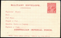 Lot 837:1917-19 1d Red George V Inscribed 'AUSTRALIAN IMPERIAL FORCE' Setting 1 BW #ME1, trivial ink marks top right corner, flap unsealed, fine overall, Cat $300.