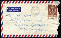 Lot 300 [3 of 8]:1961-66 1/- Colombo Plan BW #382 on-cover usage selection including solo usages 1962 on aerogramme to UK, 1962 airmail to Solomons, 1964 on PPC to USA, also 1963 use on Melbourne local cover in lieu of postage due, (1960?) double rate airmail to USA with strip of 4, etc; condition variable. (8)