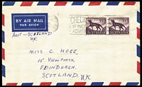 Lot 182 [2 of 6]:1962-66 1/2d Tasmanian Tiger on-cover usage selection with solos including 1962 on 2d class mail wrapper to UK, 1964 paying unsealed greetings card rate to Sweden, 1965 paying PPC rate to Germany; also pair on 1962 airmail cover to Scotland, 1965 pair & single plus 1/- Columbo Plan paying double airmail rate to Ministry of Aviation in London, plus one other item, condition variable. (6)