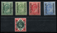 Lot 1396 [2 of 2]:1904-13 Ovpts on GB KEVII ½d to 1/- deep green & scarlet and 1/- green & carmine, ½d values hinge remainders, otherwise fine MLH, Cat £140. (6)