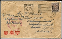 Lot 1289 [2 of 2]:1945 covers x2 each with good to fine strikes of 'HMAS HOBART/2 SEPT/1945/TOKYO JAPAN' woodcut datestamp in magenta, both are franked with KGVI 3d and cancelled on arrival in Sydney. Scarce. (2)