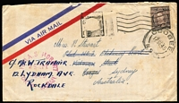 Lot 1289 [1 of 2]:1945 covers x2 each with good to fine strikes of 'HMAS HOBART/2 SEPT/1945/TOKYO JAPAN' woodcut datestamp in magenta, both are franked with KGVI 3d and cancelled on arrival in Sydney. Scarce. (2)