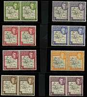 Lot 1299 [3 of 3]:1946-49 Thin Map ½d to 1/- set in blocks of 4 SG #G9-16, also Thick Map set in pairs showing variety Gap in 80th parallel SG #G1/a-8/a, all fresh MUH, Cat £450+. (52)