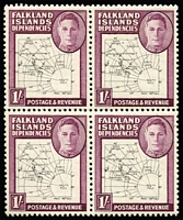 Lot 1299 [1 of 3]:1946-49 Thin Map ½d to 1/- set in blocks of 4 SG #G9-16, also Thick Map set in pairs showing variety Gap in 80th parallel SG #G1/a-8/a, all fresh MUH, Cat £450+. (52)