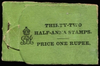 Lot 2103:1912-22 KGV Black on Green Cover 1r booklet with blank back cover SG #SB7a retaining 16 (four panes of 4) of the original thirty-two ½a SG #155 stamps, some edge blemishes, Cat £500 as a complete booklet.