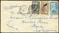 Lot 1534 [1 of 2]:1932 (Aug 8) airmail cover to UK with tri-colour franking, unusual 'R.A.C./No 2/R.M.' (receiving?) cancel, departure backstamp, some blemishes around the stamps